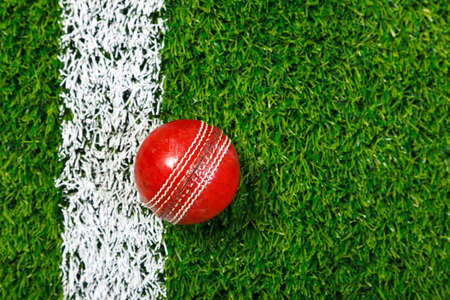 lines game: a cricket ball on a grass next to the white line, shot from above. Stock Photo