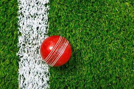 cricket: una palla di Grillo su un erba accanto alla linea bianca, girata da sopra. Archivio Fotografico