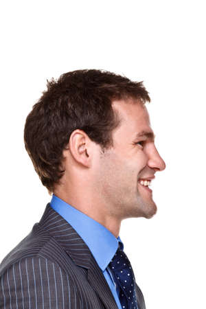 man face profile: Photo of a businessman with a happy expression on his face, side headshot isolated on a white background. Part of a series.