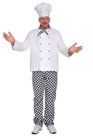 trousers: Photo of a happy chef in white uniform with his arms open in a welcoming gesture isolated on a white background.
