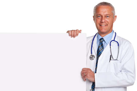 doctor with stethoscope: Photo of a mature adult male doctor, smiling to camera and holding a blank poster for you to add your own image of message, isolated on a white background.