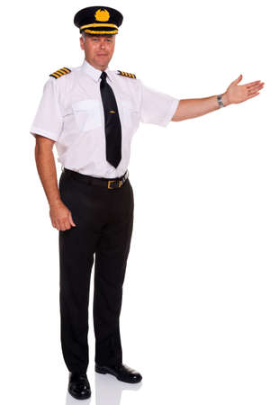 captain: an airline pilot wearing the four bar Captains epaulettes arm out in a welcome gesture, isolated on a white background.