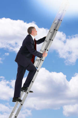 stepping: Concept photo of a businessman climbing a ladder into the sky looking up into the light.