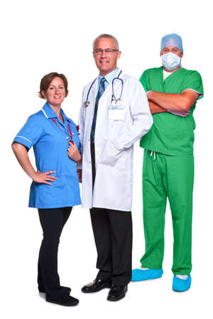 Photo of a medical team, doctor, nurse and surgeon, isolated on a white background.