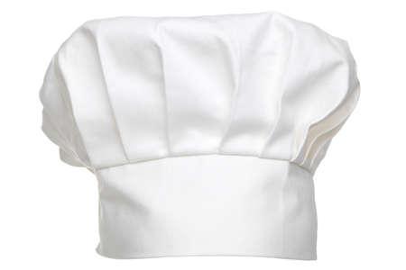 요리사 모자는 전통적으로 흰색 배경에 고립 된 토크의 위임장을했다.