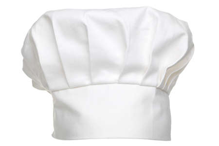 toque blanche: a chefs hat traditionally called a toque blanche, isolated on a white background. Stock Photo