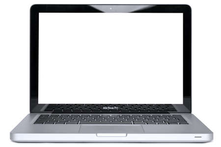 Hi-res photo of the new 2011 Apple MacBook Pro, isolated on a white background with cliiping paths for the laptop and the screen, blank to add your own image or message. Stock Photo - 10573324
