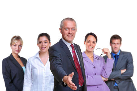 business team, focus on the manager with his hand out in a welcoming gesture, isolated on a white background. Stock Photo