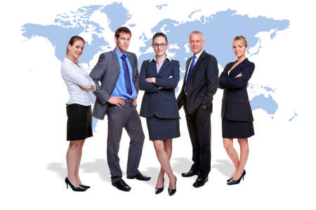 standing in line: five corporate people on white with a map of the world behind them, good for worldwide and global business themes. Stock Photo