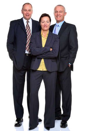 Photo of a mature business team consisting of two businessmen and a businesswoman, full length and isolated on a white background. photo