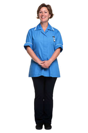 Photo of a female nurse in uniform isolated on a white background.