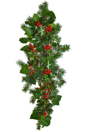 Photo of a straight Christmas garland with holly, red berries, ivy and spruce. Isolated on a white background.