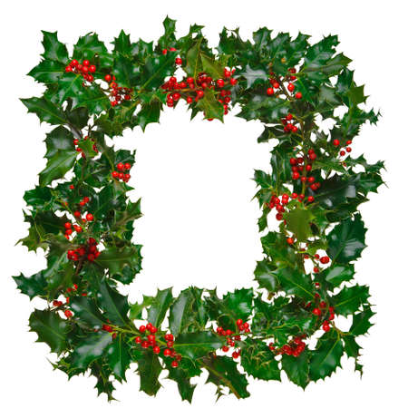 christmas wreath: Photo of fresh holly with red berries arranged in a square frame and isolated on a white background.