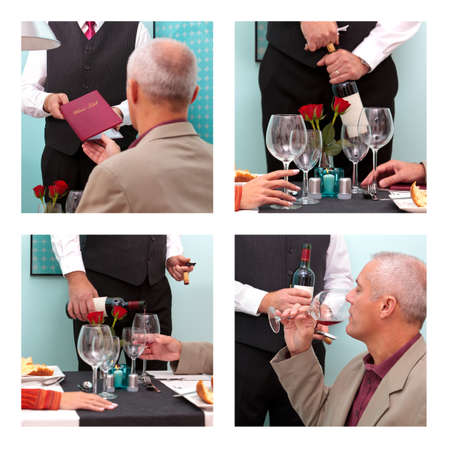 Photo montage showing a mature man ordering and tasting wine from a sommelier in a restaurant. Standard-Bild