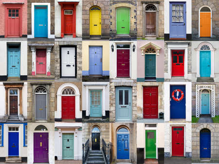 A photo collage of 32 colourful front doors to houses and homes photo