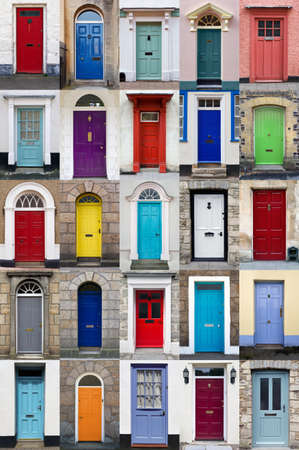 door handles: A photo collage of 25 colourful front doors to houses and homes
