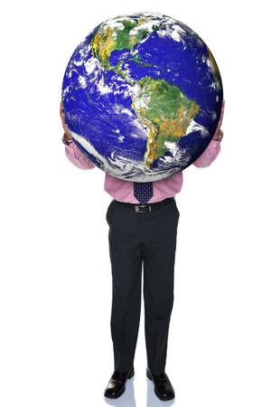 hands out: Photo of a businessman holding the world in his hands, isolated on a white background   World from NASA images