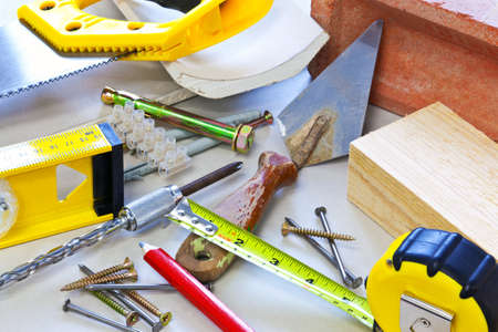 building material: Still life photo of building tools and materials Stock Photo