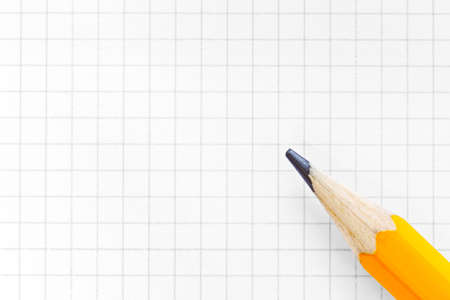 Photo Of Blank Squared Graph Paper With A Yellow Pencil, Add