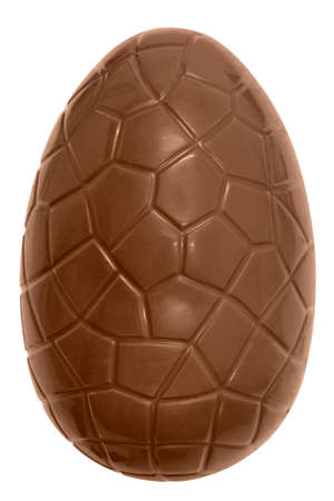 Photo of a chocolate easter egg isolated on a plain white background with clipping path. Stock Photo