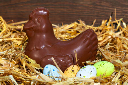 Still life photo of a chocolate hen sitting on some speckled candy covered eater eggs. Stock Photo - 12659082