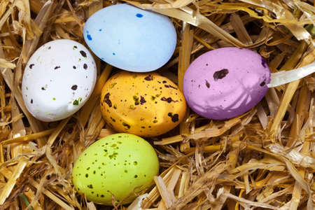 Photo of five speckled candy covered chocolate easter eggs in a straw nest. Stock Photo - 12659089