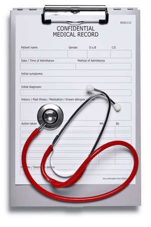 medical clipboard: Photo of a blank medical record on metal clipboard and red stethoscope isolated on white