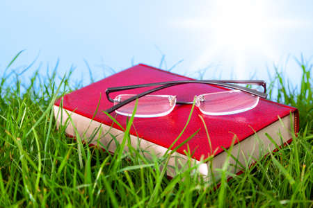 Photo of a red hardback book in grass on a sunny day with spectacles on top