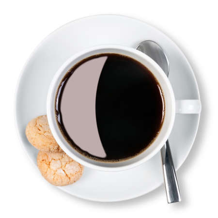 Overhead photo of a cup of black coffee with two amaretti biscuits on the side, isolated on a white background with clipping path. Stock Photo - 13312653