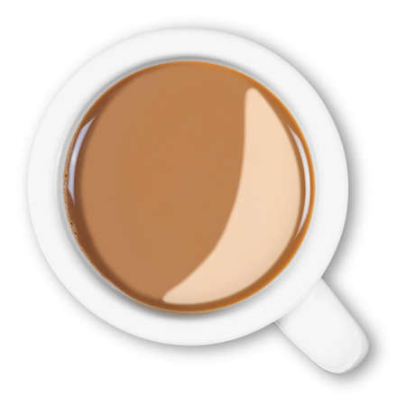 Overhead photo of a mug full of hot white coffee isolated on a white background Stock Photo - 13312651