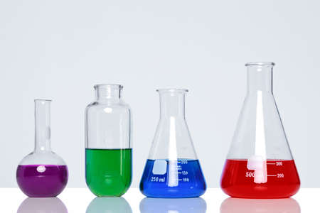 Photo of chemicals in glass flasks and beakers