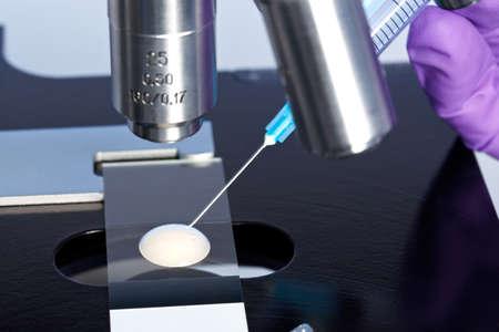 Foto van een sperma monster op een microscoopglaasje met een injectiespuit worden gebruikt om een embryologie monster voor analyse extraheren.