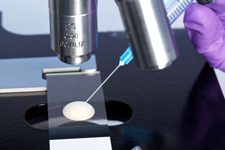 microscope lens: Photo of a sperm sample on a microscope slide with a syringe being used to extract an embryology specimen for analysis.