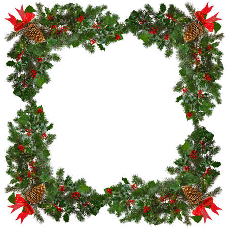 Holly with red berries, ivy, evergreen spruce branches, red ribbon and gold pine cone arranged in a square frame against a white background.