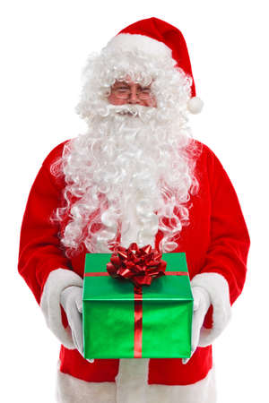 christmas costume: Santa Claus giving you a Christmas gift, isolated on a white background. His other names from around the world include Father Christmas, Père Noël, Papá Noel, Babbo Natale, Sinterklaas, Christkind and Weihnachtsmann.