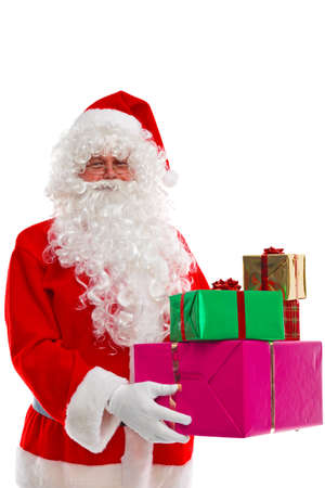 weihnachtsmann: Santa Claus holding some Christmas presents, isolated on a white background. His other names from around the world include Father Christmas, Père Noël, Papá Noel, Babbo Natale, Sinterklaas, Christkind and Weihnachtsmann.
