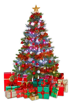 lit collection: Photo of a decorated Christmas tree surrounded by gift wrapped presents, isolated on a white background.