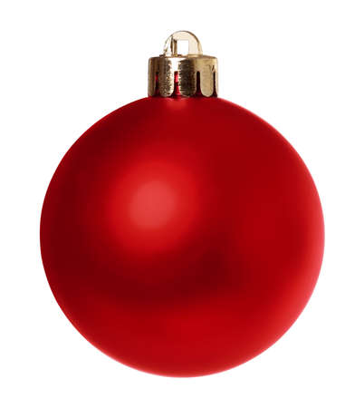 Red Christmas bauble decoration isolated on a white background with clipping path. Stock Photo - 16761662