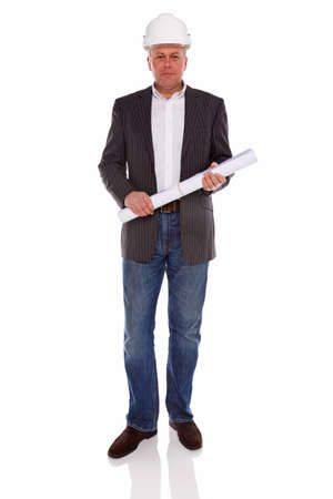 An architect or Surveyor wearing a jacket and jeans holding building plans and hard hat helmet, isolated on a white background. Stock Photo - 17567382