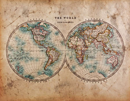 atlas: A genuine old stained World map dated from the mid 1800s showing Western and Eastern Hemispheres with hand colouring.