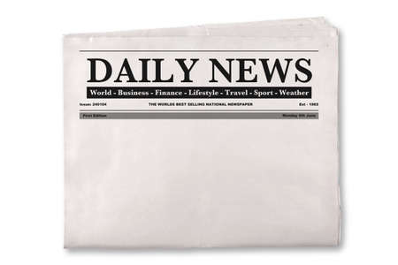 article writing: Mock up of a blank Daily Newspaper with empty space to add your own news or headline text and pictures.