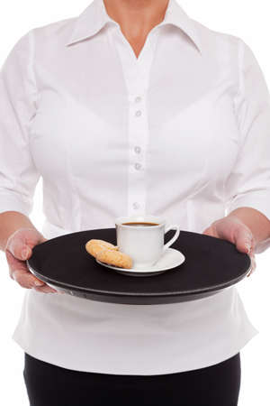 Waitress holding a tray with an Espresso coffee and Amaretti biscuits, white background. Stock Photo - 17833912