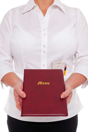 Waitress handing you a Menu with an order pad and pencil in her apron, white background. Stock Photo - 17833916