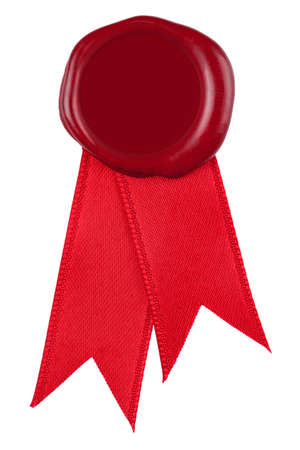 sealing wax: Photo of a red wax seal and ribbon, the centre is blank to add you own design or text. Isolated on a white background. Stock Photo