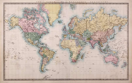 nobody real: Original old hand coloured map of the World on Mercators projection circa 1860