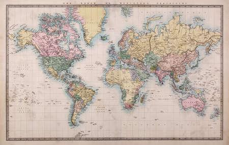 vintage: Original velho mapa colorido da mão do Mundo na projeção Mercators cerca de 1860