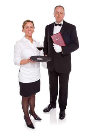 Waitress and Maitre D' isolated on a white background. Stock Photo - 18207954
