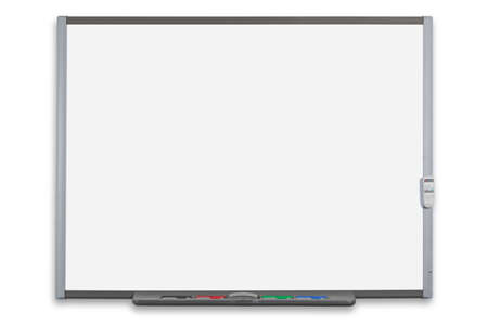 School interactive whiteboard or IWB with remote control, isolated on a white background. Clipping path provided for both the board and screen. Stock Photo