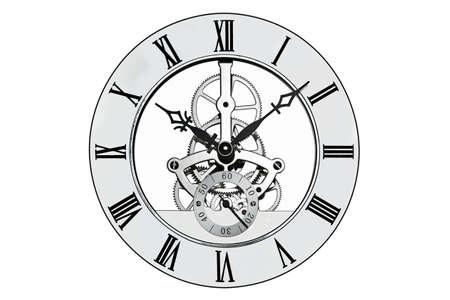 numeros romanos: Esqueleto de reloj con n�meros romanos aislados en un fondo blanco. Clipping ruta proporcionada por la cara exterior. Foto de archivo