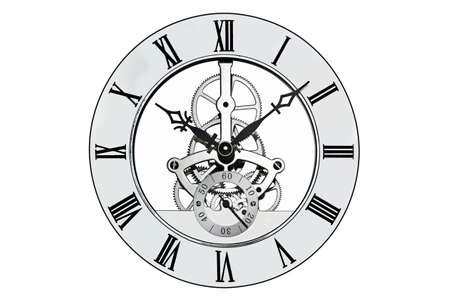 Skeleton clock with roman numerals isolated on a white background. Clipping path provided for the outer face. Stock Photo - 18518148